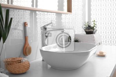 Tapeta Stylish white sink in modern bathroom interior