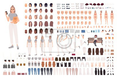 Tapeta Stylish young woman animation set or constructor kit. Collection of body parts, gestures, trendy clothes and accessories. Female cartoon character. Front, side, back views. Flat vector illustration.