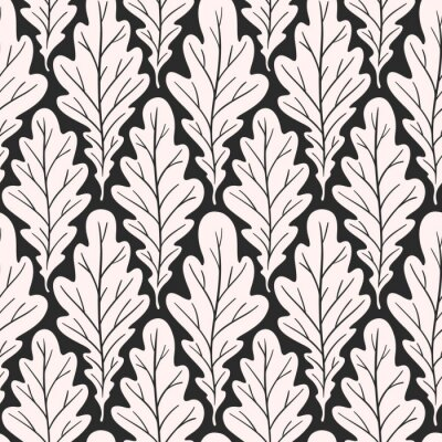 Tapeta Stylized colorful silhouette oak leaves seamless pattern. Nature universal textures. Hand drawn decorative floral ornamental background. Vector illustration