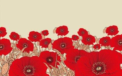 Tapeta Stylizowane pola kwiatów maku w odcieniach czerwieni i kości słoniowej