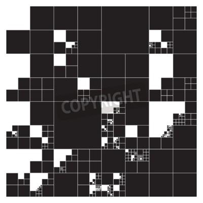Tapeta Subdivided squares grid system. Randomly sized polygons with fixed space between. Futuristic layout. Conceptual generative background. Procedural graphics. Creative coding.
