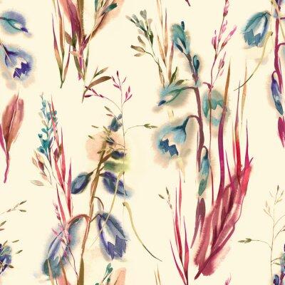 Tapeta Summer Flowers Seamless Pattern. Watercolor Background.