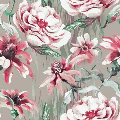 Tapeta Summer Flowers Seamless Pattern. Watercolor Illustration.
