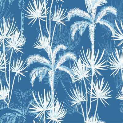 Tapeta Summer hand drawn doodle line sketch plam and coconut trees ,island design fot fashion,fabric, and all prints