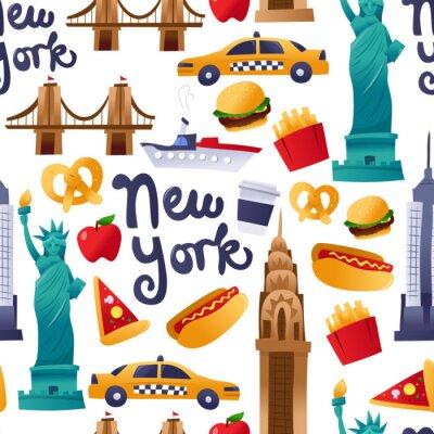 Tapeta Super Cute New York Culture Seamless Pattern Background