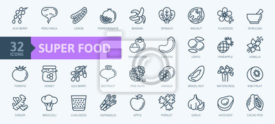 Tapeta Super food - thin line icon set of fruits, vegetables, berries, nuts, roots and seeds. Outline icons collection of healthy detox natural products, organic food ingredients for health and diet.