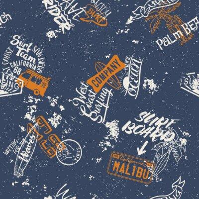 Tapeta Surfing West Coast bez szwu wzór, streszczenie wektor tapeta na tkaniny grunge efekt koszuli w osobnej warstwie