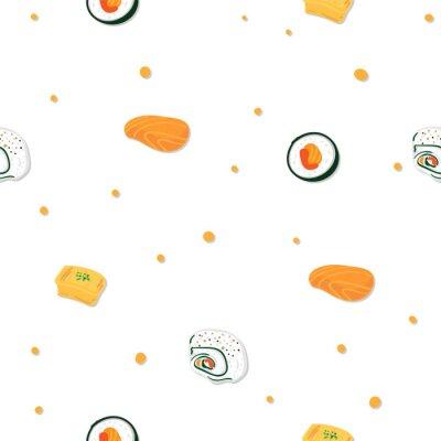 Tapeta sushi sashimi japan food graphic object pattern background