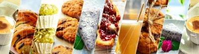Tapeta Sweet food collage. Tasty breakfast, coffee, croissants, cheesecake, jam, breakfast collage. Variety of food