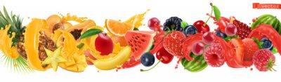 Tapeta Sweet tropical fruits and mixed berries. Splash of juice. Watermelon, banana, pineapple, strawberry, orange, mango, blueberry, cherry, raspberry, papaya. 3d vector realistic set. High quality 50mb eps