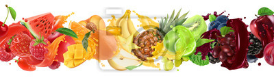 Tapeta Sweet tropical fruits and mixed berries. Splash of juice. Watermelon, banana, pineapple, strawberry, orange, mango, lime, blueberry, grapes, apple. 3d vector realistic set. High quality 50mb eps