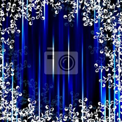 Tapeta Światło niebieskie tło z białym paskiem kwiatów ramki