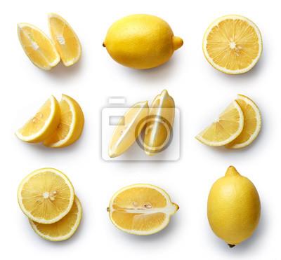 Tapeta Świeże cytryny samodzielnie na białym tle
