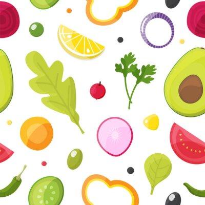 Tapeta Świeżych warzyw bezszwowy wzór, zdrowy łasowanie, jarska sałatka i rolnictwa pojęcie. Ilustracji wektorowych