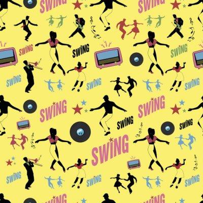 Tapeta Swing dance pattern. Tancerze i muzycy. Styl retro. Bezszwowy.