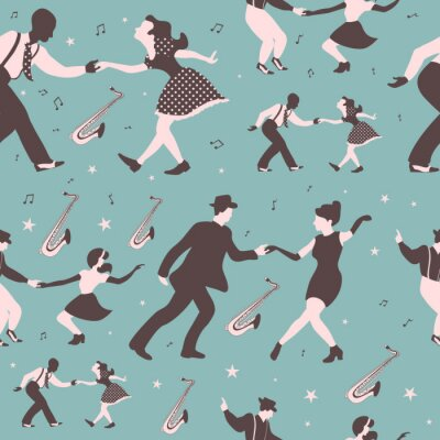 Tapeta Swing dance seamless pattern with dancing couples, saxophones, musical notes and stars on a green background