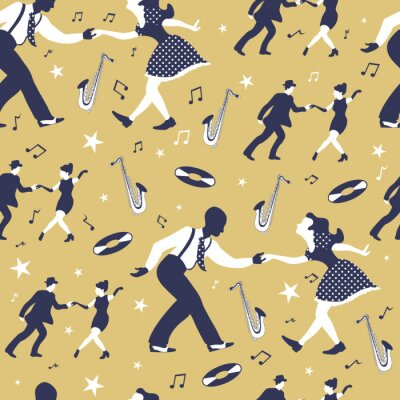 Tapeta Swing dance seamless pattern with two dancing couples, saxophone,  music record, stars and notes.