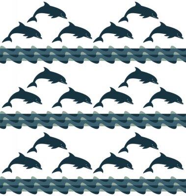 Tapeta sylwetka Delfin tle bezszwowych tekstur fal morskich 3