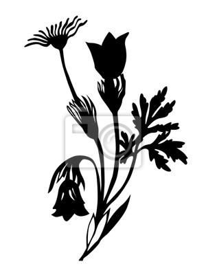 sylwetka kwiat pole na brązowym tle
