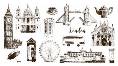 Tapeta Symbole Londynu: Big Ben, Tower Bridge, autobus, gwardzista, skrzynka pocztowa, budka telefoniczna. Katedra św. Pawła, herbata, parasol, westminster.