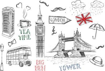 Tapeta Symbole Londynu. Wektorowa ręka rysująca ilustracja