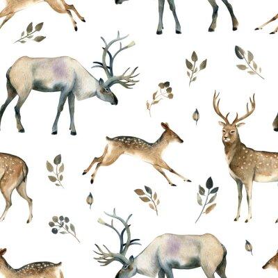 Tapeta Szkic akwarela akwarela realistyczne leśne. Wzór szwów na temat jelenia, jelenia, łosia i liści