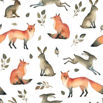 Tapeta Szkic akwarela akwarela realistyczne leśne. Wzór szwów na temat lisa, zająca i liści