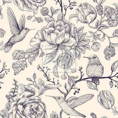 Tapeta Szkic wektor wzór z ptaków i kwiatów. Monochromatyczny wzór kwiatowy dla sieci, papieru do pakowania, pokrowca na telefon, tekstyliów, tkanin, pocztówek