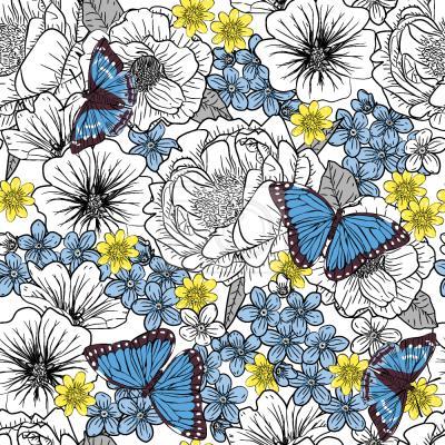 Tapeta Szkicowy Kwiatowe Z Motyle