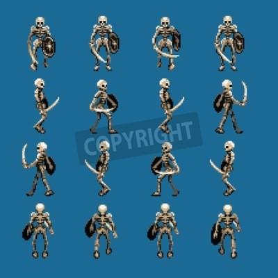 Tapeta Szkielet szkieletu animacji cyklu, cztery kierunki, styl retro pixel art gry wideo