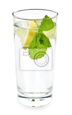 Tapeta Szklanka wody z cytryną i miętą