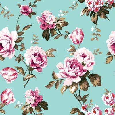 Tapeta Szorstki elegancki vintage róże bezszwowe wzór