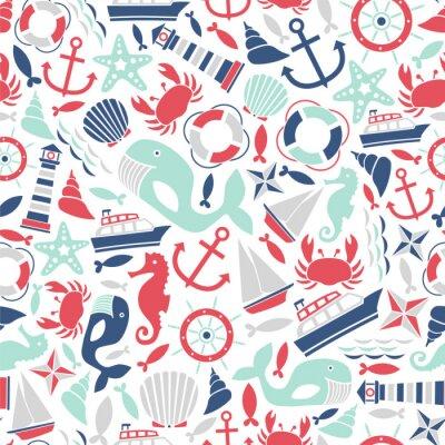 Tapeta szwu z ikon morskich
