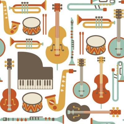Tapeta szwu z instrumentów jazzowych. samodzielnie na białym tle