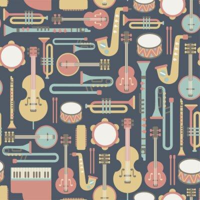 Tapeta szwu z instrumentów muzycznych. na ciemnym tle