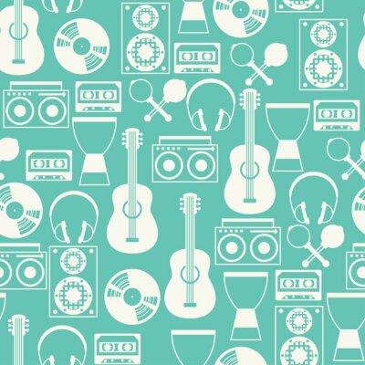 Tapeta Szwu z instrumentów muzycznych w stylu projektowania płaskiego.