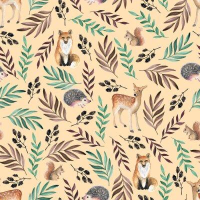 Tapeta Szwu z lisów, jeleni, jeży. Ręcznie rysowane akwarela