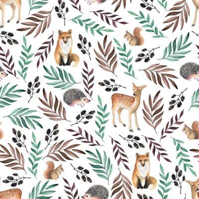 Tapeta Szwu z lisów, jelenie, jeże. Akwarela wyciągnąć rękę