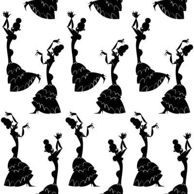 Tapeta Tancerka flamenco. tradycji hiszpańskiej. Czarny i biały. Jednolite b
