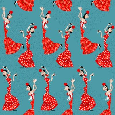 Tapeta Tancerka flamenco. tradycji hiszpańskiej. Jednolite tło wzór