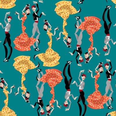 Tapeta tancerzy flamenco. tradycji hiszpańskiej. Jednolite tło tupot