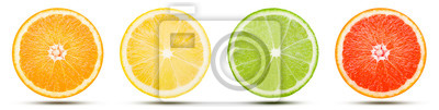 Tapeta The collection of citrus fruit slice is cut into a sphere. Orange, Lemon, Lime, and Pink grapefruit with drop shadow isolated on white background. Commercial image with clipping path.
