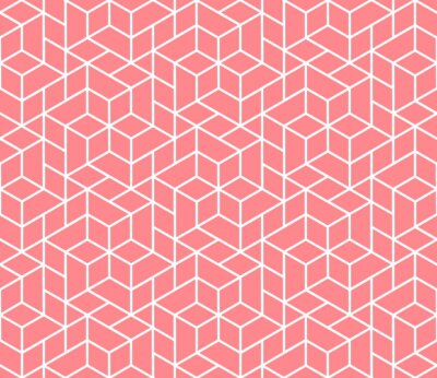 Tapeta The geometric pattern with lines. Seamless vector background. White and pink texture. Graphic modern pattern. Simple lattice graphic design