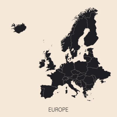 Tapeta The political detailed map of the continent of Europe with borders of countries