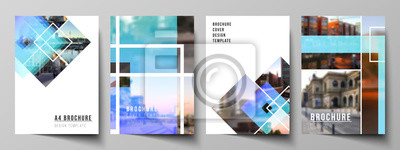 Tapeta The vector layout of A4 format modern cover mockups design templates for brochure, magazine, flyer, booklet, annual report. Creative trendy style mockups, blue color trendy design backgrounds.