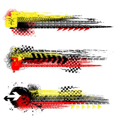 Tapeta Three different grunge tire track banners with color ink blots elements isolated on white background