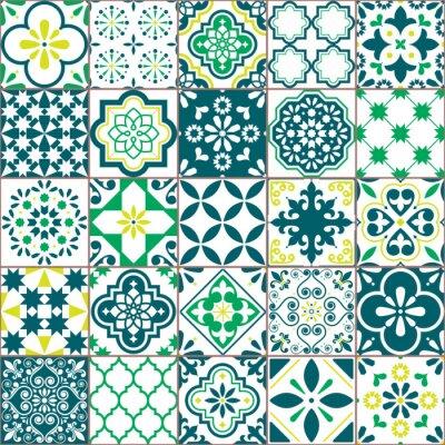 Tapeta Tile vector pattern - Azulejo Lisbon retro old tiles mosaic, Portuguese seamless green design