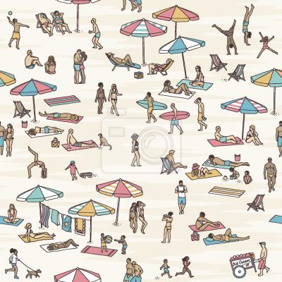 Tapeta Tiny Ludzie Na Plaży