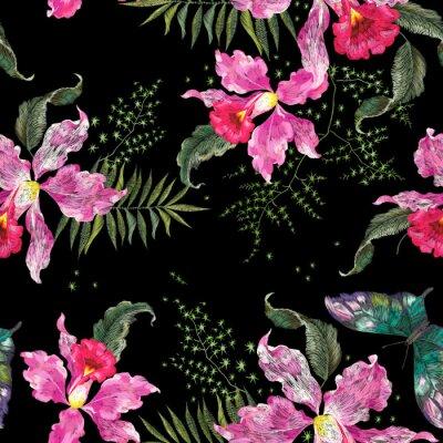 Tapeta Tkaniny haftowane trend kwiatowy wzór bez szwu z orchidee i motyl.