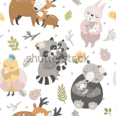 Tapeta Tło dla dzieci z uroczych zwierząt leśnych. Niedźwiedź, królik, jeleń, ptak i szop pracz. Matka i dziecko